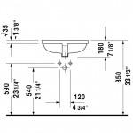 Duravit Me by Starck iš apačios montuojamas praustuvas 490x365 mm