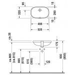 Duravit D-Code iš apačios montuojamas praustuvas 495x290 mm
