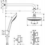 Hansgrohe Croma Select S termostatinis dušo potinkinis komplektas