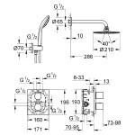 Dušo sistema Grohe Grohetherm 3000, 34408000-voniosguru.lt