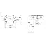 V&B O.novo, įmontuojamas praustuvas, 560 x 405 mm, baltas alpin-voniosguru.lt