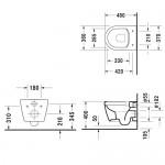 Pakabinamas klozetas Duravit ME by Starck Compact su rimless funkcija ir lėtaeigiu dangčiu-voniosguru.lt