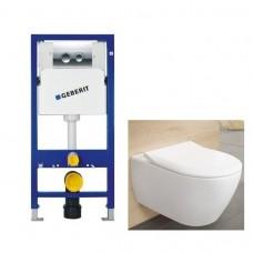 Potinkinio WC rėmo Geberit 4in1 ir pakabinamo klozeto Villeroy&Boch Subway 2.0 su plonu lėtaeigiu dangčiu komplektas