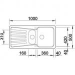 Akmens masės plautuvė Blanco Nova 6 S 100x50 cm (spalvų pasirinkimas)