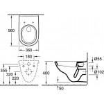 Pakabinamas klozetas Villeroy & Boch O.novo su lėtaeigiu dangčiu 5660H101+9M38S101-voniosguru.lt