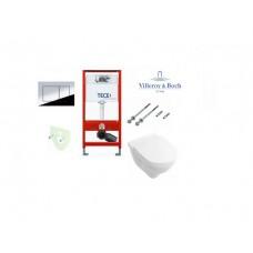 Tece potinkinis rėmas su TeceNow vandens nuleidimo mygtuku ir pakabinamas klozetas Villeroy & Boch O.Novo su rimless technologija