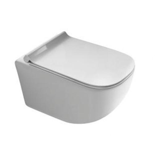 Pakabinamas klozetas Galassia Plius Design su plonu lėtaigiu dangčiu-voniosguru.lt