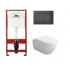 WC rėmo Tece, juodo mygtuko Now ir pakabinamo klozeto Villeroy & Boch Subway 2.0 DirectFlush su plonu lėtaeigiu dangčiu komplektas