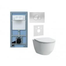 WC rėmo Sanit ir pakabinamo klozeto Laufen Pro Rimless su lėtaeigiu dangčiu komplektas