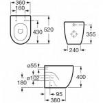 Roca Meridian pristatomas klozetas su lėtaeigiu dangčiu A347247000 + A8012A2004-voniosguru.lt