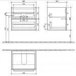 Villeroy&Boch Avento spintelė su praustuvu 600x470 mm