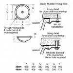 Ideal Standard Connect Round iš apačios montuojamas praustuvas Galimi matmenys  380x380mm 480x480mm
