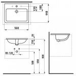 Laufen Pro S įleidžiamas praustuvas, 56 x 44 cm, baltas