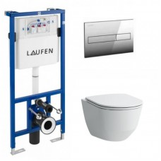 Potinkinis rėmas Laufen LIS CW1 su pakabinamu klozetu Laufen Pro New ir plonu lėtai užsidarančiu dangčiu