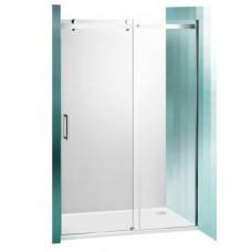Slankiojančios dušo durys ROLTECHNIK AMBIENT LINE AMD2/1500 skirtos montuoti į nišą su sidabro spalvos profiliu ir skaidriu stiklu 150cm
