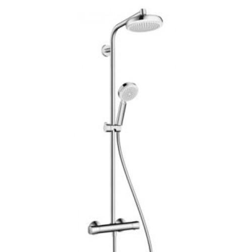 Hansgrohe dušo sistema su termostatu Crometta 160 1jet Showerpipe, EcoSmart 9l/min, balta/chromas-voniosguru.lt