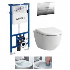 Potinkinis rėmas  Laufen LIS CW1 su pakabinamu klozetu Laufen Pro New Rimless ir lėtai užsiadarnčiu dangčiu
