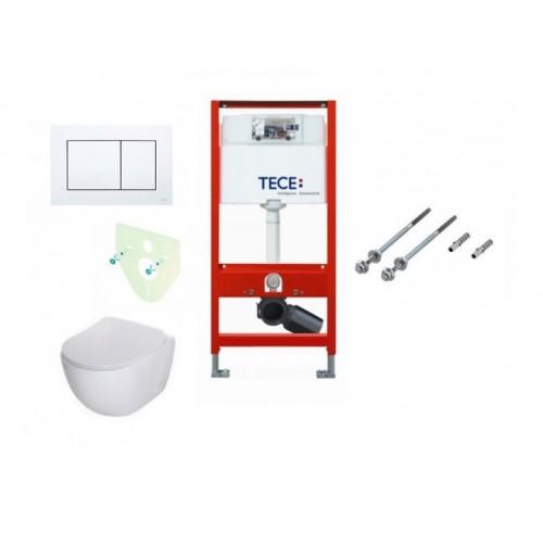 Komplektas: Tece potinkinis WC rėmas su baltu mygtuku + Deante Peonia Rimless klozetas su lėtaeigiu dangčiu