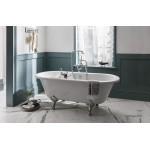 Laisvai pastatoma akrilinė klasikinio stiliaus Burlington  Bateau vonia 1640x722 mm su baltomis kojomis-voniosguru.lt