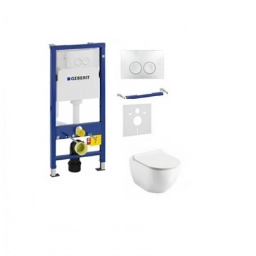 Komplektas 4 in1 Geberit DuoFix Basic potinkinis WC rėmas su baltu nuleidimo mygtuku Delta 21 , Alice Cermica Unica Rimless klozetu ir lėtaegiu dangčiu