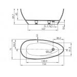 Laisvai pastatoma akmens masės vonia Ava 156x71 cm