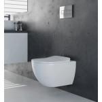 Komplektas: Tece potinkinis WC rėmas su baltu mygtuku ir TECE Fresh + Deante Peonia Rimless klozetas su lėtaeigiu dangčiu