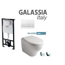 Komplektas Alcaplast rėmas + mygtukas baltas ir Galassia Eden klozetas su lėtaegiu dangčiu