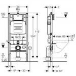 Komplektas 4 in1 Geberit DuoFix Basic potinkinis WC rėmas su baltu nuleidimo mygtuku Delta 21p ir pakabinamu klozetu V&B Subway 2.0 DirectFlush lėtaeigiu su dangčiu