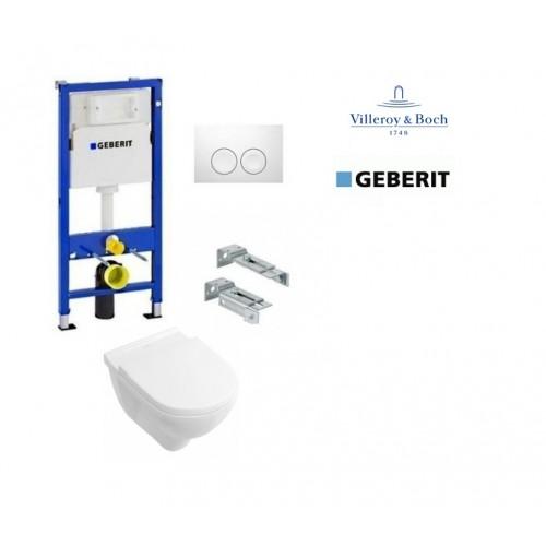Komplektas 4 in1 Geberit DuoFix Basic potinkinis WC rėmas su baltu klavišu Delta 21 ir Villeroy&Bosch O.Novo Rimless klozetas su lėtaegiu dangčiu