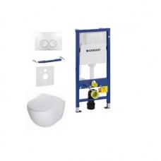 Komplektas 4 in1 Geberit DuoFix Basic potinkinis WC rėmassu baltu klavišu Delta 21 ir Deante Peonia Rimless klozetas su lėtaegiu dangčiu