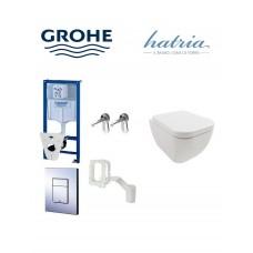 Grohe wc komplektas 5in1 su Grobe fresh rėmeliu tabletėms  + klozetas  Hatria BIANCA Pure rimless