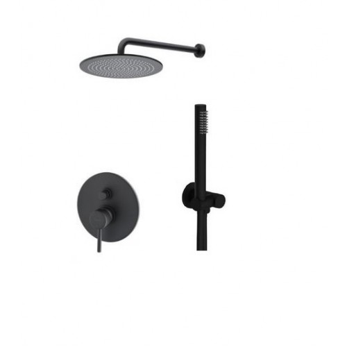 Bugnatese Kobuk potinkinė dušo sistema su dušo galva ir rankiniu dušeliu (spalvų pasirinkimas chromas, juoda, balta, bronza nikelis)