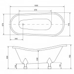 Besco Otylia 1600x770mm ir 1700x770mm vonia iš kompozicinės medžiagos