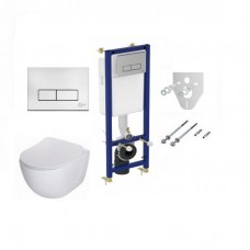 WC Komplektas 5in1 Ideal standart siauras rėmas + chromuotas mygtukas ir Deante Peonia Rimless pakabinamas klozetas su lėtaeigiu dangčiu