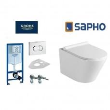 Komplektas WC rėmo Grohe Rapid SL 38981000 ir pakabinamo klozeto Sapho Paco su lėtaeigiu SLIM dangčiu