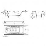 Roca Malibu stačiakampė ketaus vonia 1500x750mm su rankenėlėmis ir kojomis-voniosguru.lt