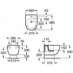 Pakabinama Roca Meridian Bidė  Compact 360x480 mm-voniosguru.lt