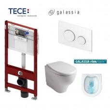 Komplektas: Tece potinkinis WC rėmas + Galassia Eden Rimless klozetas su lėtaeigiu dangčiu