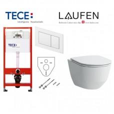 Tece potinkinis rėmas su TeceNow baltu vandens nuleidimo mygtuku ir Laufen Pro pakabinamu klozetu su plonu lėtaeigiu dangčiu
