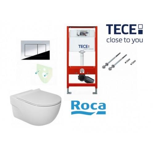Tece potinkinis rėmas su TeceNow vandens nuleidimo mygtuku ir Roca Meridian Rimless pakabinamu klozetu su lėtaeigiu dangčiu